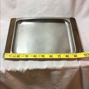 Dining - Vintage Stainless Steel Serving Tray Dish Wood